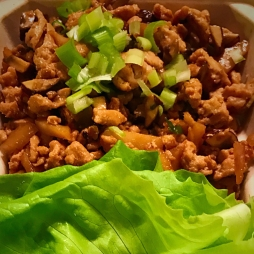 MFK Lunch: Chicken Lettuce Wrap. Ground Chicken mixed chestnuts , mushrooms , scallions mixed with gluten free soy sauce and spices. Comes with Romaine Lettuce