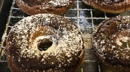 MFK Pumpkin Donuts: 123 Calories per donut , Carbs:16 gram , Fat: 5 gram , Protein: 5 gram