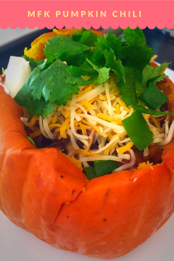 Macro Fit Kitchen (MFK) Pumpkin Chili. Just right for the season. Vegetarian option is available. All natural Lean Ground Beef & Cheddar Chicken Sausage with Roasted Fresh Pumkin mix with bean and right amount of spice topped with cheese and Cilantro. Calories: 497 , Carb:35.8 / Fat: 21.4 / Pro:41.6 ( Vegeterian option macros will change)