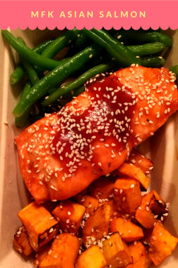 MFK Asian Salmon: Macro Fit Kitchen (MFK) Asian Salmon: Atlantic Salmon , marinated with Organic Gluten Free soy , baked to perfection comes with side of roasted sweet potatoes and green beans sauteed with Organic Gluten Free Soy & Sesame seeds. Macro breakdown : 1 container , Cal: 464 , Protein : 48.6 / Carbs : 39.8 / Fat : 13.4